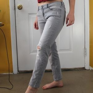 Banana Republic Skinny-Fit Gray Distressed Pants